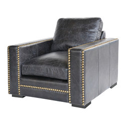 Four Hands - Patrizia Club Chair - Traditional with a twist, this studded top-grain leather club chair will make a classic addition to your home. Bench-built for quality and comfort, it's got a look and feel that redefines luxury.