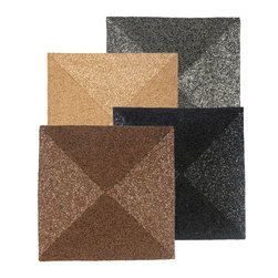 Metal Bead Square Placemat - Dark, chic, and cocktail-ready, the Metal Bead Square Placemats have a posh geometric look for a glamorous transitional table setting. Whether used for a gathering or for everyday dining, the fine sheer glimmer of the hundreds of tiny beads used to weave each upscale designer placemat adds a chic note to the meal. These placemats are sold individually.
