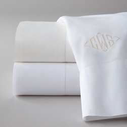 """Matouk - """"Key Largo"""" Easy-Care Italian-Made Sheets - Treat yourself to Italian-made, easy-care, no-iron sheeting with classic hemstitch detail and optional monogram. From Matouk. Made in Italy of 200-thread-count fabric that's a 50/50 blend of Egyptian cotton and polyester. Flat sheets and pillowcases...."""