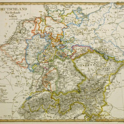 Consignment Original Antique Map of Central Europe, 1821 - Original hand-colored antique engraving of Germany, Netherlands, and Switzerland from Stieler's  early edition of Hand Atlas, 1821. Over 190 years old. Area includes present day Czech Republic and Austria. Double-layered tinting.