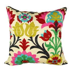 Land of Pillows - Santa Maria Desert Flower Damask Style Floral Decorative Throw Pillow, 16x16 - Fabric Designer - Waverly
