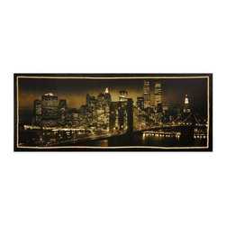 Oriental Furniture - New York Skyline Canvas Wall Art - A remarkable quality fine art photograph, a black and white image with tobacco or sepia colored filtering. A night time New York City skyline taken from Brooklyn, with the bridge cables decorated with light bulbs, and the World Trade Center towers and the Empire State Building clearly visible. Images of New York City are meaningful to people all over the world, and fine art quality photographs before the twin towers fell have special meaning.