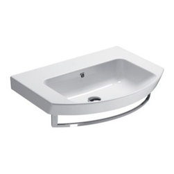 GSI - Rectangular Ceramic Wall Mounted or Vessel Bathroom Sink, One Faucet Hole - This beautiful curved rectangular wall mounted or above counter vessel bathroom sink is perfect for your modern or contemporary bathroom needs. Sink is made out of high quality ceramic with a white finish. Sink includes overflow and comes with the option for no faucet holes, a single hole, or three holes. Made in Italy by GSI.
