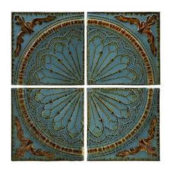 Blue Quarter Medallion Set of 4 Wall Panels - Embossed rustic metal medallion wall decor panels set of four