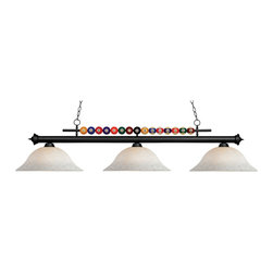 "Z-Lite - 170BN-WM16 Brushed Nickel Shark 3 Light Chandelier with Glass Shade - Created with the game room in mind, this three light fixture would be a perfect addition above pool table due to its billiard ball detailing. 72"" of chain is included to ensure a perfect hanging height."