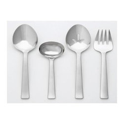 Ginkgo - Cassia 4-Pc. Flatware Hostess Set in Full Platinum Finish - Includes 1 pierced serving spoon, 1 serving spoon, 1 cold meat fork and 1 sauce ladle. A bead blasted pattern. Material: 18/0 stainless . Full platinum finishA Bead Blasted pattern with mirror Bowls & Tines. A well-designed bowl for the teaspoon and soups, couples with a balanced and extremely functional tine design for the salad fork and dinner fork.
