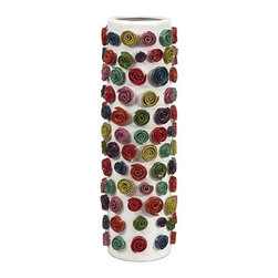 iMax - Dixie Small Swirl Vase - With dimensional swirl motifs in bold colors applied by hand to the small Dixie vase, the shape and vivid color bring a bit of whimsy to any home.