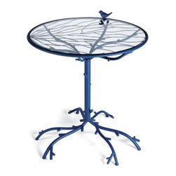 Grandin Road - Bird Outdoor Bistro Table - Meticulously handcrafted from substantial iron. Bright powdercoat finishes resist the elements. Table features a removable tempered-glass top. Our charming Bird Bistro Folding Chair and Table feature a twig-and-branch motif, complete with decorative songbirds perching at the table??s edge and on the chair back.  .  .  .