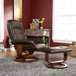 "Holly & Martin - Hemphill Leather Recliner and Ottoman in Brow - Set includes recliner with attached side table & ottoman. Mechanism-glide system with position lock. 360° Swivel recliner. Ottoman does not rotate. Solid all wood chair base. All birch hardwood true ""U"" upgraded designer base. Constructed of birch hardwood, bonded leather, foam and metal. 1 Year warranty against manufacturer defects. Assembly required. Weight capacity: 300 lbs.. Attached table: 11 in. across. Chair base: 24.5 in. across. Ottoman base: 18 in. across. Ottoman: 21.5 in. W x 16.75 in. D x 16.5 in. H. Seat: 21 in. W x 28 in. H. Recliner: 28.5 in. W x 26 in. D x 40 in. HBecome familiar with the concept of luxury as this recliner and ottoman set is all about rich, traditional elegance and modern superiority. This reclining chair and matching ottoman merges the ease of reclining with the comfort of luxurious bonded leather for a perfect end-of-day reward. As a bonus, this set comes with a smooth sliding side table that offers a handy spot for holding a beverage or storing a remote. So go ahead and put your feet up with this ergonomically designed recliner and ottoman set; you'll want one for every room."