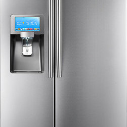 Samsung 29.6 Cu. Ft. Side-by-Side Refrigerator with LCD Touch Screen and Apps - This Samsung refrigerator features an 8-inch LCD touch screen with apps to keep the family organized and entertained!