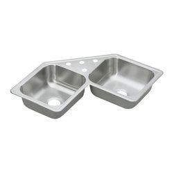"""Elkay - Elkay Dayton Elite 31 7/8 x 31 7/8 Double Bowl Sink with Four Holes (DE217324) - Elkay DE217324 Dayton Elite 31 7/8"""" x 31 7/8"""" Double Bowl Sink with Four Holes, Stainless Steel"""