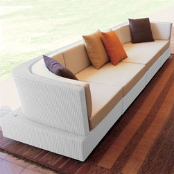 Outdoor Wicker Sectional Sofa - Outdoor wicker sectional sofa.