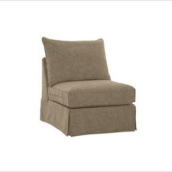 """PB Comfort Square Arm SectionalArmless Chair Knife-EdgeEverydaySuedePewterSlipco - Designed exclusively for our versatile PB Comfort Square Sectional Components, these soft, inviting slipcovers retain their smooth fit and remove easily for cleaning. Left Armchair with Box Cushions is shown. Select """"Living Room"""" in our {{link path='http://potterybarn.icovia.com/icovia.aspx' class='popup' width='900' height='700'}}Room Planner{{/link}} to select a configuration that's ideal for your space. This item can also be customized with your choice of over {{link path='pages/popups/fab_leather_popup.html' class='popup' width='720' height='800'}}80 custom fabrics and colors{{/link}}. For details and pricing on custom fabrics, please call us at 1.800.840.3658 or click Live Help. Fabrics are hand selected for softness, quality and durability. All slipcover fabrics are hand selected for softness, quality and durability. {{link path='pages/popups/sectionalsheet.html' class='popup' width='720' height='800'}}Left-arm or right-arm{{/link}} is determined by the location of the arm as you face the piece. This is a special-order item and ships directly from the manufacturer. To see fabrics available for Quick Ship and to view our order and return policy, click on the Shipping Info tab above. Watch a video about our exclusive {{link path='/stylehouse/videos/videos/pbq_v36_rel.html?cm_sp=Video_PIP-_-PBQUALITY-_-SUTTER_STREET' class='popup' width='950' height='300'}}North Carolina Furniture Workshop{{/link}}."""