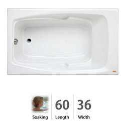 "Jacuzzi - Jacuzzi CET6036 BUX XXX W White Cetra 60"" x 36"" Cetra  Drop In Soaking - Tub apron sold separately - when adding to cart apron option will be presentedCetra  Collection:Uncomplicated, straightforward, and utterly heavenly. JacuzziÂ's  Cetra  whirlpool tub from the Comfort collection is ideal for both traditional and contemporary settings. Up to eight jets will flush the fatigue right out of your tired muscles and bones. The Cetra  comfort tub comes with sculpted armrests, a contoured backrest, and is available in four different colors (white, black, almond, and oyster). Choose from three different sizes for your Soaking, Pure Air , or Whirlpool experience with the Jacuzzi  Cetra  tub.Integrated Dual-Armrests - Convenient armrests are sculpted into the bathing wellContoured Backrest - Form-fitting backrest is designed to be more comfortable to lean back againstMeasurements:60""L x 36""W x 21.25""HSoaking Tub:A traditional bathing experience is the foundation of hydrotherapy and is as simple as being enveloped in warm water. Jacuzzi s  classic Italian designs provide the perfect vessel for this treatment. Jacuzzi s  soaking tubs will enhance your bathroom and more importantly improve your quality of life. The traditional Soaking bath is a non jetted, non Pure Air  tub.Safe for Bath Salts - Enjoy the effervescence of bath salts and oils. These elements will not damage Jacuzzi  soaking tubs or tub components.Whirlpool Jets:NoneDrain Placement:Universal - Because tub can be reversed (no apron or tile flange), drain placement is universal for Right or leftStandard for All Jacuzzi  Tubs:Tru-Level - Self-leveling base system offers supe"