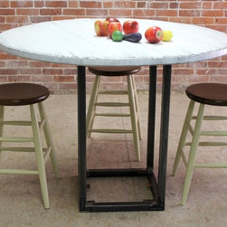 Round White Dining Table Steel Base - http://www.ecustomfinishes.com