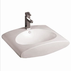 Whitehaus - Whitehaus Whkn1098 23 Isabella Bathroom Sink - Isabella rectangular wall mount basin with integrated oval Kitchen Sink, overflow, single faucet hole and rear center drain