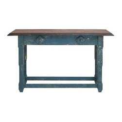 "Benzara - Durable Multi Purpose Wood Table in Sober Blue Finish - Durable Multi Purpose Wood Table in Sober Blue Finish. This wood table is a very elegant piece of work suitable for any household with a traditional or modern interior. It comes with a following dimensions 59""W x 17""D x 36""H."