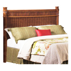 Wicker Paradise - Rattan King Headboard - Barbados - Our best selling king headboard is back by popular demand! SHIPS IN 3 WEEKS (Due in Mid July).   Spectacular exotic design and specially crafted, the Barbados king headboard is built to last and suitable for any standard king size bed. Hardware not included, headboard is not pre-drilled.