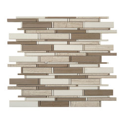 Euro Glass - Athen Gray & Thassos White Mix Random Bricks Brown Cascade Series Polished Stone - Can be cut every 6 rows to make a continuous border