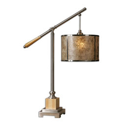 Uttermost - Sitka Silver Lamp - This Lamp Is Brushed Aluminum Accented With Natural Solid Wood Details. The Round, Hardback Drum Shade Is Natural Mica With A Light Champagne Stain And Brushed Aluminum Trim. Number Of Lights: 1, Shade: Round Hardback Drum, Shade Size: Height: 8, Top: 12w X 12d, Bottom: 12w X 12d, Voltage: 110, Wattage: 150w, Bulbs Included: No