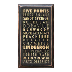 "CrestField - Atlanta, GA Points of Interest Decorative Vintage Style Wall Plaque / Sign - This vintage style wall plaque is hand made to commemorate the points of interest in Atlanta, GA. The pine board has a quarter round routed edge and is sized at 7.25"" x 13"" x .75"". The surface is finished with my ""flatter than satin"" poly finish with a saw tooth hanger on the back. Would look great in any decoration project, home or office."