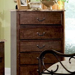 Standard Furniture - Santa Cruz 5 Drawer Chest - French dovetail. Roller side drawer guides. Surfaces clean easily with a soft cloth. Has five drawers which allow generous storage space. Wood products with simulated wood grain laminates. Group may contain some plastic parts. Top drawers are felt lined to protect delicate items. 33 in. L x 16 in. W x 51 in. H
