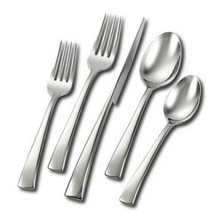 "Henckels - Henckels Bellasera 45-Piece Flatware Set - 45-piece flatware set, service for 88-each: salad fork, dinner fork, knife, tablespoon, and teaspoon5-piece service set includes sugar spoon, butter knife, meat fork, serving spoon, and slotted serving spoon18/10 stainless-steel construction with brilliant, corrosion-resistant finish. Sleek, European""spired design features smooth profilesDishwasher-safe for easy cleanup. Dimensions: 11.5 x 2.8 x 7.5 (W x D x H) - Inch."
