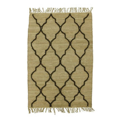 Homespice Décor - 4' x 6' Trellis Fawn - Fawn is accented with brown hand-loomed jute.  Do not machine wash. Use mild soap and cold water for minor spills and stains. Professional rug cleaning recommended. Remove from floor if wet to avoid color transfer. See Warranty for other care recommendations.
