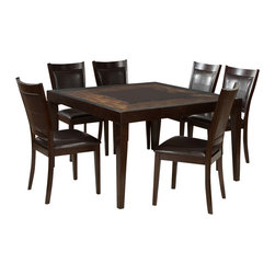 Homelegance - Homelegance Vincent 7-Piece Square Dining Room Set in Espresso/ Oak - Glass overlays the intricate acacia wood block staggered pattern of the Vincent collection. Each intricate pattern surrounds a center contrasting block. This unique table features a modern espresso/oak two-toned finish. Wood framed chairs with chocolate brown bi-cast vinyl seats and backs flank this contemporary table.