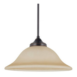 Sea Gull Lighting Products LLC - Sea Gull Lighting Brockton Fluorescent 1-Light Downlight Pendant - 16W in. Burnt - Shop for Pendants from Hayneedle.com! A click of the mouse and a flip of the switch and you'll love your space a little bit more when the Sea Gull Lighting Brockton Fluorescent 1-Light Down light Pendant - 16W in. Burnt Sienna arrives. This wide-bodied pendant has a shade of amber scavo glass supported by a slender down tube and 36 inches of matching suspension chain. The body of the fixture chain and down tube are finished in a rich shade of brown while a single 13-watt GU24 base bulb shines through the shade.