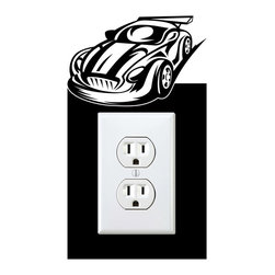 StickONmania - Outlet Sports Car #2 Sticker - a vinyl decal sticker to decorate a wall outlet.  Decorate your home with original vinyl decals made to order in our shop located in the USA. We only use the best equipment and materials to guarantee the everlasting quality of each vinyl sticker. Our original wall art design stickers are easy to apply on most flat surfaces, including slightly textured walls, windows, mirrors, or any smooth surface. Some wall decals may come in multiple pieces due to the size of the design, different sizes of most of our vinyl stickers are available, please message us for a quote. Interior wall decor stickers come with a MATTE finish that is easier to remove from painted surfaces but Exterior stickers for cars,  bathrooms and refrigerators come with a stickier GLOSSY finish that can also be used for exterior purposes. We DO NOT recommend using glossy finish stickers on walls. All of our Vinyl wall decals are removable but not re-positionable, simply peel and stick, no glue or chemicals needed. Our decals always come with instructions and if you order from Houzz we will always add a small thank you gift.