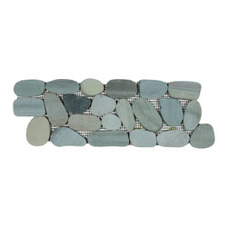 CNK Tile - Sliced Sea Green Pebble Tile Border - Each pebble is carefully selected and hand-sorted according to color, size and shape in order to ensure the highest quality pebble tile available. The stones are attached to a sturdy mesh backing using non-toxic, environmentally safe glue. Because of the unique pattern in which our tile is created they fit together seamlessly when installed so you can't tell where one tile ends and the next begins!