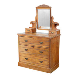 Antiques - Antique Walnut English Chest Dresser w/ Mirror - Country of origin: England