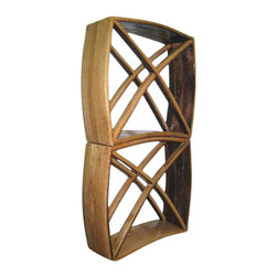 """Master Garden Products - Oak Wine Storage & Display Cube Bin Rack, 20""""h X 20""""l X 7""""d - This cubical wine rack bin retains its elegant curved shape of the barrel, but can still be stacked up to hold as many bottles as you like.  Each wood cube bin is sectioned off and holds up to about twenty-four of your favorite bottles.  They are handcrafted with recycled French wood wine barrel staves that are machine sand cleaned and hand polished. Finished with a coat of lacquer.  Each individual item's appearance and color tone may vary due to the reclaimed barrel material used in the product."""