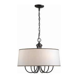 World Imports - Brisbane 6 Light Inverted Pendant in Euro Bro - Manufacturer SKU: WI133629. Bulbs not included. Hard back linen shades trimmed in brown. Euro Bronze Finish. Brisbane Collection. 6 Lights. Power: 60w. Type of bulb: Candelabra. Euro Bronze finish. 10 ft. Chain & 12 ft. Wire. 22 in. D x 17.5 in. H (10.95 lbs.)
