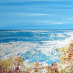 Beach Decor Wall Art - Coral Reef - Blue ocean beach tropical painting print by Francine Bradette