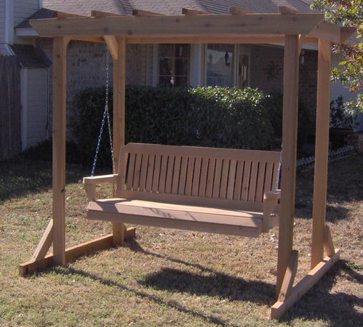 Pergola Style Cedar Arbor with Swing - Set up the perfect backyard or garden swing in no time with the Pergola Style Cedar Arbor Swing. This set includes your choice of a 4-foot, 5-foot or 6-foot Threeman Products porch swing as well as a handsome pergola. The frame is made from extra strong 2 by 4 cedar wood, and the swing will be constructed out of the same durable hardwood no matter which one you choose. The arbor is 81 inches tall by 48 inches deep and is sold with all of the necessary hardware for assembly and for hanging your new porch swing inside of the frame.