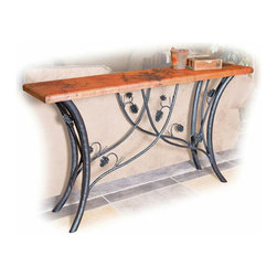 "Piney Woods Console Table - The nature-inspired Piney Woods Console Table is perfect to add rustic style to your living room or entryway. Made from high-quality recycled copper  the hand-hammered and fired tabletop is finished using a hand-applied  Old World technique for variations on each piece. A wax coating adds protection. The hand-forged iron base is artisan-crafted with graceful branches and pinecones in a black finish. Measures 60""W x 14""D x 34""H. ~ Ships from the manufacturer. Allow 4 to 6 weeks."