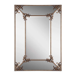 "Uttermost - Uttermost 12806 Ansonia Antique Gold Ornate Mirror - 60"" Length - Antiqued Gold Leaf w/ Light Gray Wash"