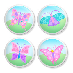 New Speed Limit - Set of 4 Dresser Drawer Knobs/Pulls Hardware For Kids - Butterflies - Butterflies, Hearts, Stars, Dots and Clover Moms or Dads, you can give your child's old dresser a quick inexpensive DIY makeover. Our custom-made ceramic knob sets screw on easily to most flat faced drawer fronts in minutes! Your kids will love one of our many cool, detailed, and fun designs. You will love the traditional, easy to grab, clean, and round shape with no sharp edges. Perfect! Each 4 Pack contains 4 1 1/2 inch bright ceramic knobs with a 1 1/4 inch long Phillips head screw. Please check out all of our different designs.