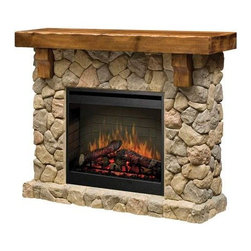 Dimplex Fieldstone Stone-Look Electric Fireplace - SMP-904-ST - I love the stone. The mantel is rustic, which to me fits in well with the stone.
