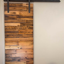 Sliding Barn Door - (3) Tobacco Barn Wood with Flat Lacquer Finish - -Hallway Dividing Door / Front / Closed-
