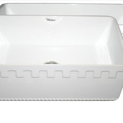 Whitehaus - Whitehaus Whflatn3018-White Reversible Sink - Reversible series fireclay sink with an Athinahaus front apron on one side and fluted front apron on opposite