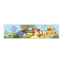 RoomMates Peel & Stick - Winnie the Pooh - Pooh and Friends Border - Celebrate the friendships that have delighted generations with beautiful peel and stick border featuring characters from Winnie the Pooh. Children will love seeing Pooh, Piglet, Eeyore, and Tigger on their wall, Pair this delightful design with our giant wall decals or wall stickers (not included) to create a full Pooh and Friends room makeover! Our Pooh and Friends wall decor collection is the perfect way to decorate a nursery or child's room!.