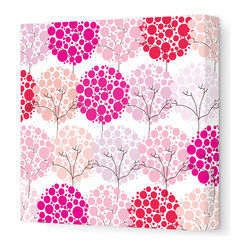 "Avalisa - Imagination - Park Stretched Wall Art, 18"" x 18"", Pink - To inspire your little one's imagination and encourage his love of nature, simply hang this stretched wall art in his favorite space. Delicate trees with bubbly blooms are guaranteed to bring smiles and sweet daydreams."
