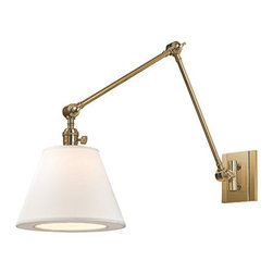 Hudson Valley Lighting - Hillsdale Vertical Swing Arm Wall Sconce - Hillsdale Vertical Swing Arm Wall Sconce combines the ingenuity of early-twentieth century task lighting with a smart decorative touch from the twenty-first. Vintage cast swivels give the sconces wide-range adjustability. Features White Linen shades with Aged Brass, Historic Nickel, Old Bronze, or Polished Nickel finishes. One 60 watt, 120 volt A19 type Medium base incandescent bulb is required, but not included. UL listed.  10 inch width x 12.75 inch height x 34 inch depth.