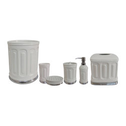 None - Snow White Bath Accessory 6-piece Set - This show white bathroom accessories 6 piece set is constructed of white ceramic, complemented by a metal ring. The set includes a tumbler, soap dish, tooth brush holder, lotion dispenser, tissue box, and waste basket.