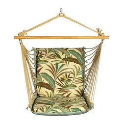 Algoma Net Company, Div. of Gleason Co - Soft Comfort Cushion Hanging Chair - Enjoy all that summer has to offer from this comfortable cushioned hanging chair. Made with two different patterns of weather resistant fabric, it features foam-filled fabric on the chair and mildew-resistant polyester rope cord. Note - stand sold separately. Made in the USA.