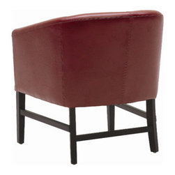 Sunpan Modern - Canyon Armchair - Features: -Material: Bonded leather.-Frame: Solid wood.-Extremely comfortable armchair can be used as either a dining or occasional chair.-Reinforcing rear and side stretchers make it ideal for contract applications.-Please note that although every attempt has been made to ensure accuracy, all dimensions are approximate.-Distressed: No.Dimensions: -Arm height: 25''.-Seat height: 17''.-Overall Dimensions: 29.5'' H x 25'' W x 28.5'' D.-Overall Product Weight: 33 lbs.Warranty: -This item is deemed acceptable for both residential and nonresidential environments such as restaurants, hotels, lounges, offices and reception areas. Please note that this item carries the manufacturer's standard ONE YEAR WARRANTY from the date of purchase. Please contact Wayfair customer service or sales representatives for further information.