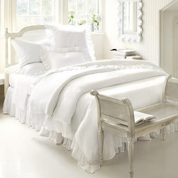 Ballard Designs - Hailey Ruffled Duvet Cover - Coordinates with our Hailey Ruffled Sham & Bedskirt. Hidden Button Closure. Machine washable. If you've been dreaming of a cloud white bed, open your eyes. Our Hailey Ruffled Duvet is hand finished in lusciously soft linen/cotton blend with relaxed ruffle flange. Layer it with our Classic Sheets for restful color or mix with sheets you already own. Hailey Ruffled Duvet features: . .  *Monogramming available for an additional charge.*Allow 3 to 5 days for monogramming plus shipping time.*Please note that personalized items are non-returnable.